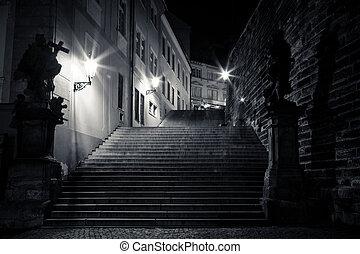 misterioso, stretta, vicolo, con, lanterne