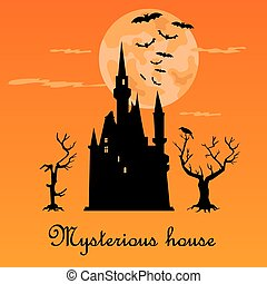 Misterious house in the dark night. Halloween holiday. Flat icons