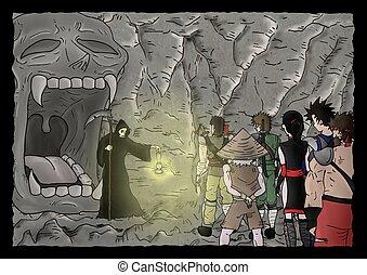mistero, caverna, illustrazione