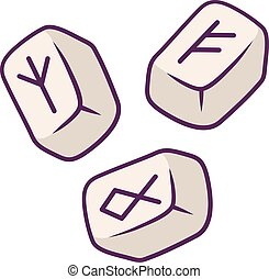 mistero, icon., items., alfabeto, oracolo, scandinavo, ...