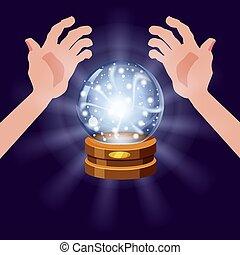 mistery, style, balle, magie, illustration, mains, magie, isolé, briller, fortune, sphère, cristal, prévisions, effets, lumière, lueur, vecteur, ouvert, dessin animé