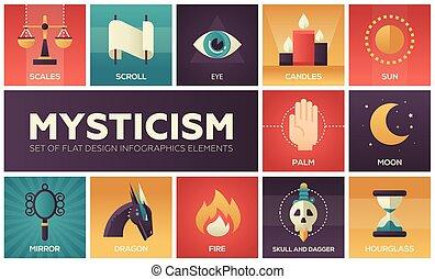 misticismo, -, conjunto, de, plano, diseño, infographics, elementos