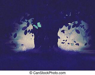 mistico, foresta, illustrazione
