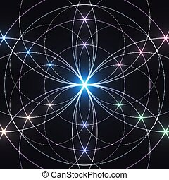 mistico, geometria, ornament., geometrico, fondo., ardendo, ...
