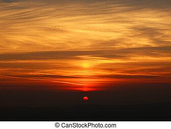 mistico, montagne, silhouette, colorito, sopra, tramonto
