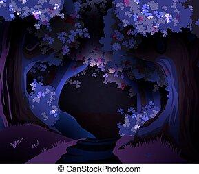 mistico, scuro, vettore, foresta, illustrazione
