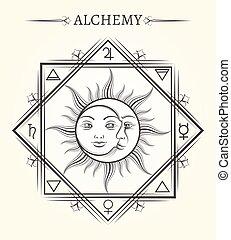 mistico, sole, simbolo, astrologia, luna