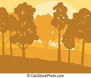 mistico, stile, vendemmia, vettore, tramonto, foresta, fondo, paesaggio, retro