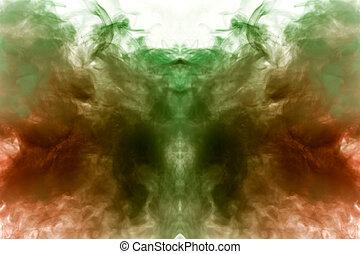 mistico, vape., ground., fumo, grigio, modello, astratto, ghost's, isolato, luminoso, o, forma, ondulato, apparenza, fondo, verde, bianco, testa, vapore, rosso, uomo