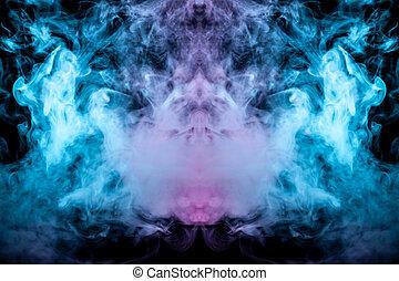 mistico, vape., ground., verde, rosa, fumo, modello, astratto, ghost's, isolato, luminoso, o, forma, ondulato, sfondo nero, apparenza, bianco, testa, vapore, uomo