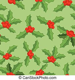 Mistletoe Christmas pattern. Traditional plant background. Festive red berry with green leaf texture. Decoration folk ornament for holiday