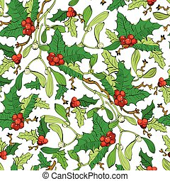 Mistletoe Holly Berries Seamless Pattern. Vibrant Red Green