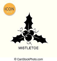Mistletoe icon isolated flat style.