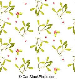 Mistletoe leaves seamless vector pattern.