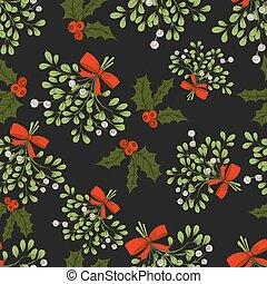 mistletoe, seamless, padrão