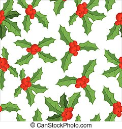 Mistletoe seamless pattern. Traditional Christmas plant background. Festive red berry with green leaf texture. Decoration folk ornament for holiday