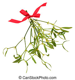 Mistletoe Sprigs with Red Bow
