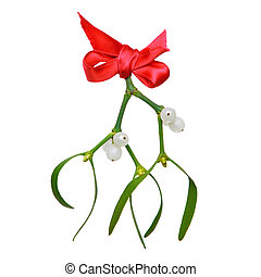 Mistletoe with red ribbon isolated on white.