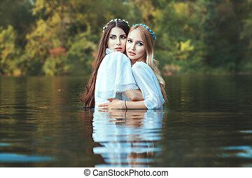 mistress., abraço, eles, mulheres