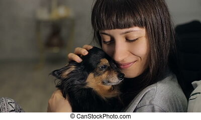 Mistress lo ve her dog - Small dog on a hands of mistress at...