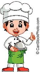 mistrz kucharski, chłopiec, rysunek
