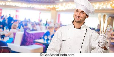 mistrz kucharski, drewniane łyżki, dzierżawa, samiec, gesturing