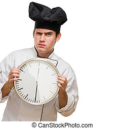 mistrz kucharski, gniewny, młody, dzierżawa, zegar
