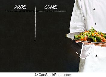 mistrz kucharski, kobieta, tablica, pros, kreda, amerykanka, kontry, tło, afrykanin