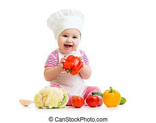 mistrz kucharski, odizolowany, biały, niemowlę jadło, warzywa, sprytny, zdrowy