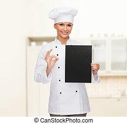 mistrz kucharski, papier, czarna samica, czysty, uśmiechanie się