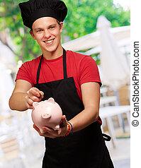 mistrz kucharski, piggybank, samiec, dzierżawa, pieniądz