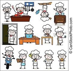 mistrz kucharski, pojęcia, wektor, ilustracje, -, komplet, różny, rysunek