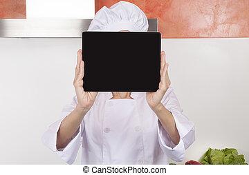 mistrz kucharski, pokaz, ekran, tabliczka, czysty