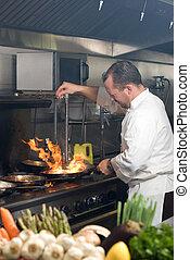 mistrz kucharski, pracujący