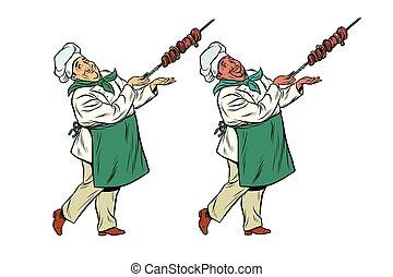 mistrz kucharski,  shish, Kaukaski,  Kebab, Afrykanin