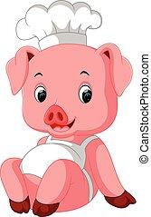 mistrz kucharski, sprytny, świnia