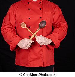mistrz kucharski, stary, drewniany, jednolity, łyżki, dzierżawa, czerwony