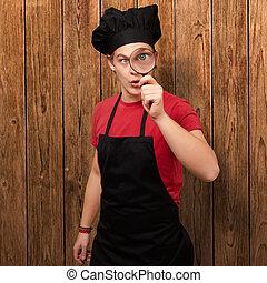 mistrz kucharski, szkło, samiec, powiększający, dzierżawa