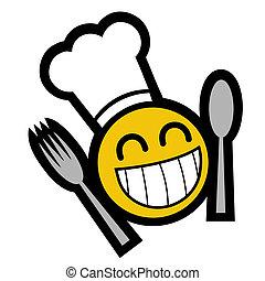 mistrz kucharski, uśmiech