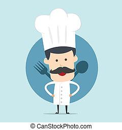 mistrz kucharski, widelec, łyżka, pokaz