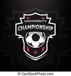 mistrzostwo, uniwersytet, piłka nożna, logo.
