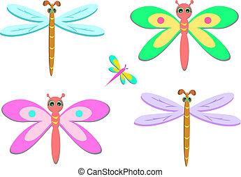 mistura, cinco, coloridos, libélulas