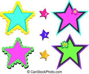 mistura, coloridos, estrelas