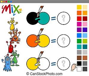 mistura, cores, jogo, crianças