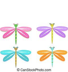 mistura, de, coloridos, libélulas