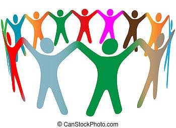 mistura, de, diverso, símbolo, pessoas, de, muitas cores, segure mãos, cima, em, anel