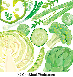 mistura, de, legumes verdes