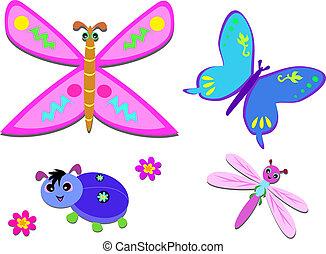 mistura, flores, bugs, alegre