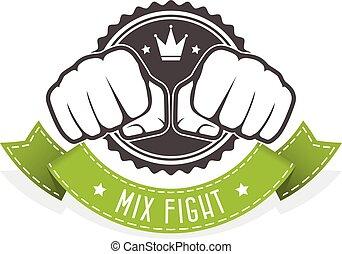mistura, luta, clube, emblema, -, dois, punhos