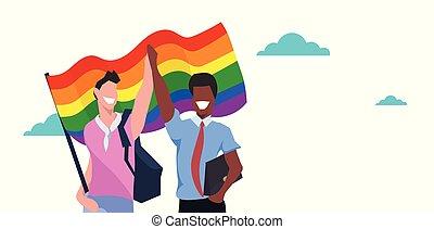 mistura, raça, par, homossexuais, segurando, lgbt, arco íris, bandeira, amor, parada, orgulho, festival, conceito, dois, sorrindo, sujeitos, ficar, junto, macho, caricatura, caráteres, retrato, horizontais, apartamento